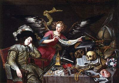 Kunstdruck EL sueno del Caballero Antonio Pereda Engel Flügel Totenschädel Tisch B A3 00650