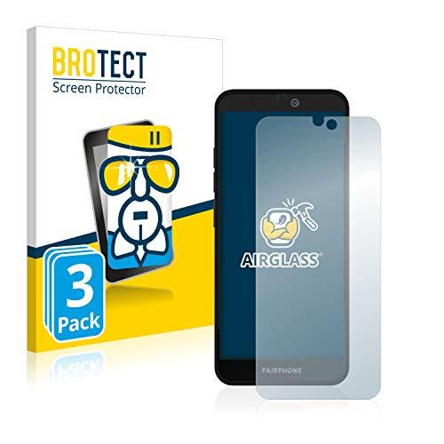 BROTECT Panzerglas Schutzfolie kompatibel mit Fairphone 3 Plus (3 Stück) - AirGlass, extrem Kratzfest, Anti-Fingerprint, Ultra-transparent