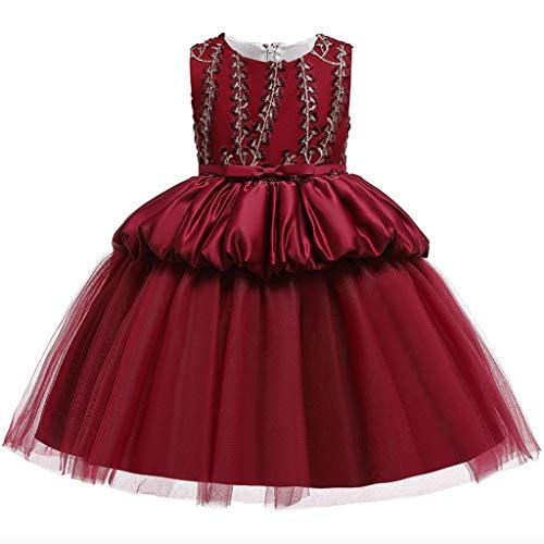 Heetey Vestido de niña con flores de princesa, dama de honor, fiesta de cumpleaños, vestido de novia, sin mangas, con tutú bordado, vestido de princesa con flores A_rojo. 150 cm