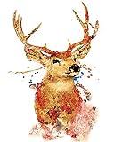 WLYUE Pintura de ciervo simple por números, pintura digital sobre lienzo para decoración del hogar, arte de pared en el dormitorio, regalos de Navidad