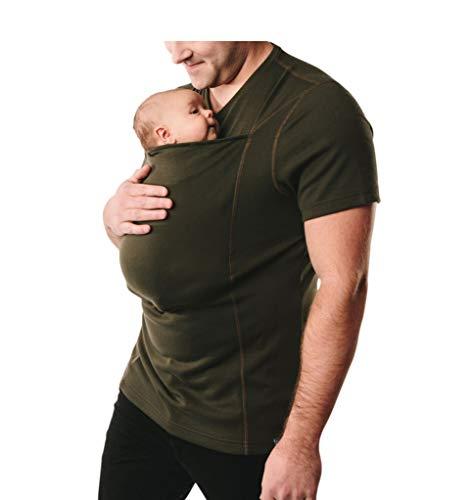 Rosie Kangaroo Care Dad T-Shirt Short Sleeve Baby Wrap Carrier Skin-to-Skin Pocket Daddy Tank Top,ArmyGreen,XL