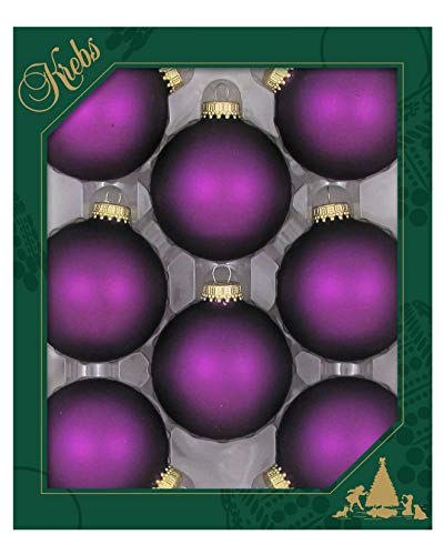 Christmas By Krebs Made in The USA Designer Seamless Glass Christmas Ball Ornaments, 2 5/8' (67mm), Purple Magic Velvet, 8 Pieces