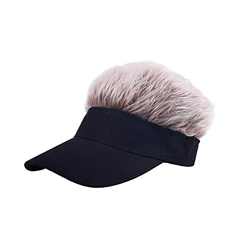 MIGOU Novelty Flair Hair Visor Sun Cap Wig Peaked Baseball Hat Novelty Adjustable Visor with Spiked Hair Black Brown, Medium
