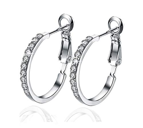 Women's Hoop Earrings Silver Plated Cubic Zirconia Ladies Jewelry Gifts for Many Occasions Round 20cm