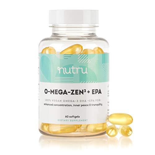 NuTru O-Mega-Zen3 +EPA Vegan Omega 3 EPA & DHA Supplement - Algal Based Fish Oil Alternative - 500+ mg Omega-3 Fatty Acids - Supplements for Brain, Joint, Skin, & Heart Health - 2 Month Supply
