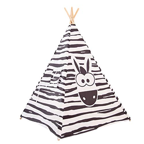 Tents Indian Teepee for Child, Lightweight Play with Solid Wood Stand Owl - Zebra - Giraffe Playhouse for Kids (Color : Black, Size : 120 * 120 * 140CM)