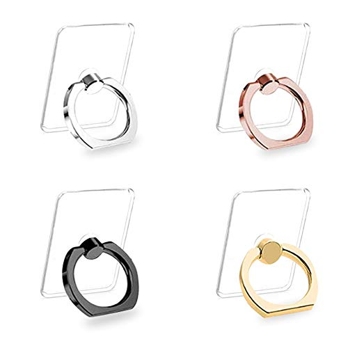 Cell Phone Ring Holder Stand 4 Pack Transparent Phone Ring Holder Universal 360° Degree Rotation Finger Ring Kickstand Compatible Various Mobile Phones or Phone Cases