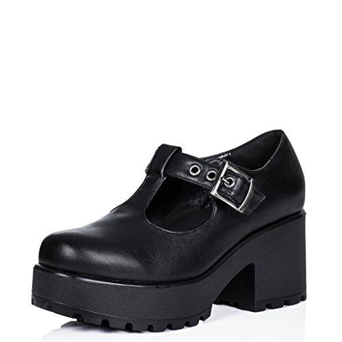 Spylovebuy Stiefeletten Ankle Boots Schuhe Blockabsatz Plateau Schnallen Schwarz Synthetik Kunstleder EU 38