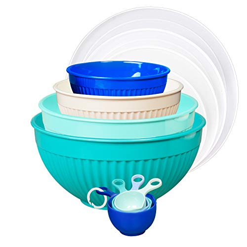 TP Melamine Mixing Bowl with Lids Set of 4 with 4 Measuring Cups Costal