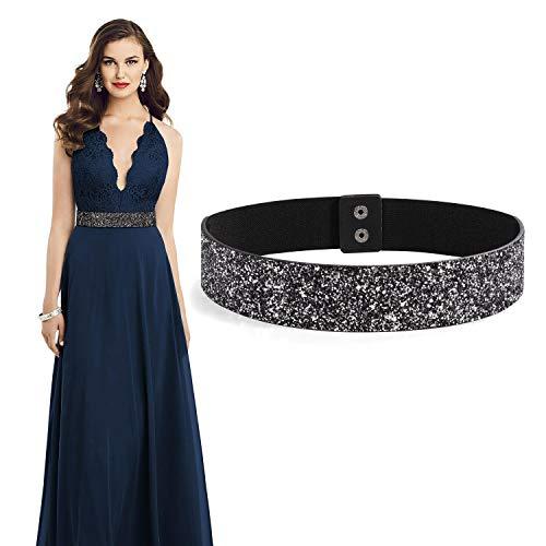 Women Rhinestone Elastic Dress Belt Bling Sparkle Stretch Shiny Party Waist Belt(Black, Fit waist size 29'-33')