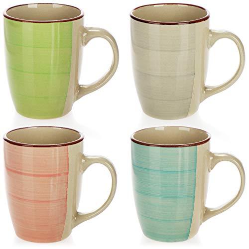 COM-FOUR® 4x Taza de café de cerámica - Taza de café de diseño moderno - Tazas para bebidas frías y calientes - 260 ml (04 piezas - azul/verde/rosa/beige)