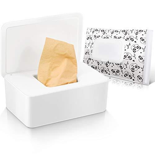 Caja de Pañuelos con Tapas Bolsa Dispensadora de Toallitas de Bebés con Tapas para Servilleta Funda Contenedor de Toallitas de Estilo Simple Reutilizable Caja de Almacenamiento Regular