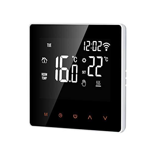 Adaskala Wi-Fi Smart Thermostat Controlador digital de temperatura Tuya Control de aplicación Pantalla LCD Pantalla táctil Semana Programable Termostato eléctrico de calefacción por suelo radiante par