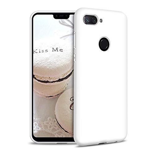 Funda para Xiaomi Mi 8 Lite Carcasa Silicona Xiaomi Mi 8 Lite, Silicona Gel TPU Case Goma Colores del Caramelo Anti-Rasguño Resistente Ultra Suave Protectora Caso - Blanco