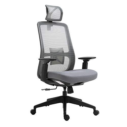 Sigtua, Schreibtischstuhl Bürostuhl office Stuhl Höhenverstellbarer Chefsessel Ergonomischer Computerstuhl drehbarer PC Stuhl mit Armlehnen, hohe Rückenlehne, Grau