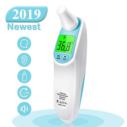 Termometro Febbre, Termometro Bambini Orecchie e Fronte, Multifunzione 4 in 1 Termometro Infrarossi per Bambini, Adulti e Oggetti, Allarme Febbre e 1 Secondo Tempo di Misura