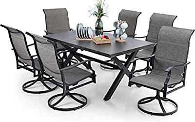 """PHI VILLA 7 PCS Patio Dining Set, 6 Padded 360-Degree Swivel Dining Chairs & 1 65.9"""" x 38"""" Rectangle Wood-Like Metal Dining Table, Outdoor Furniture for Courtyard Garden Poolside"""