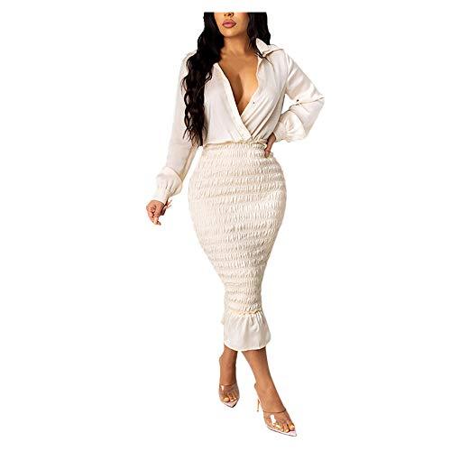 N\P Vestido delgado de manga larga con cuello en V para mujer de manga larga con cuello en V