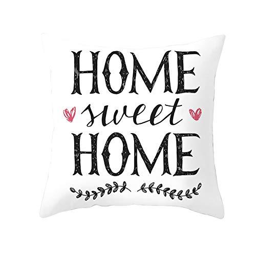 AtHomeShop 40 x 40 cm Funda de cojín decorativa en poliéster con Home Sweet Home con corazón, funda de cojín cuadrada para dormitorio, oficina, sofá, decoración, color blanco y negro, estilo 27