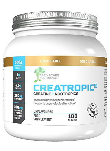 Creatropic® Kreatin + Nootropika Pulver 500mg | 100 Portionen | Muskelaufbau | Fördert die mentale Leistung | Ohne Geschmacksstoffe | Frei von Füllmitteln | Vegan | Hergestellt in Großbritannien
