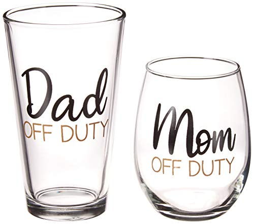 Mom and Dad Off Duty Gift Set - 15 oz Stemless Wine Glass and 16 oz...