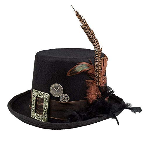 Boland 54501 - Hut Plumepunk mit Zahnrädern, Schwarz, Steampunk, Zylinder, Kopfbedeckung, Accessoire, Kostüm, Mottoparty, Karneval, Halloween