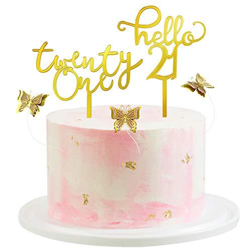 21 Geburtstag Tortendeko Gold 21 Cake Topper Acryl Hallo 21 Kucheneinsatz Schmetterling Dekoration Packung mit 5 Stück