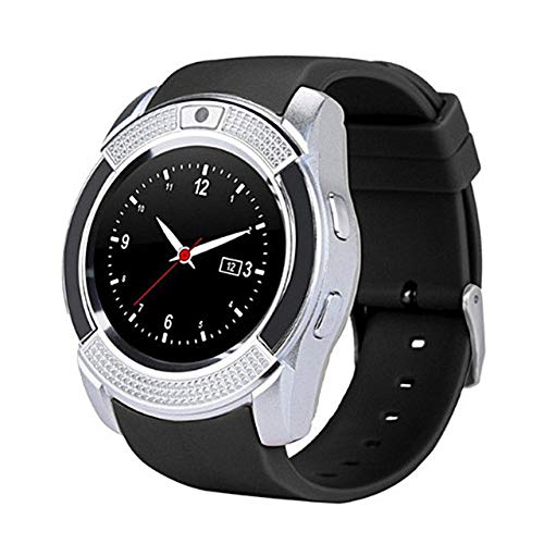 UIEMMY smart watch Waterproof Sport Men Smart Watch sim card android camera rounded Answer Call Dial Call Smartwatch Heart Rate Fitness Tracker,Silver
