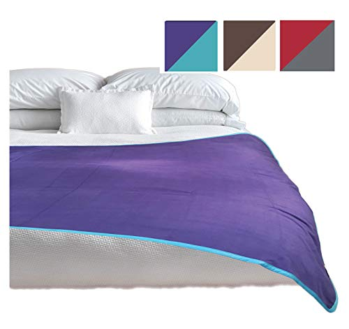 TOP Waterproof Blanket Premium Jumbo Purple Blue Guaranteed to Keep Everything 100% Dry No Matter How Wet It Gets! Noiseless Leak Proof Bed, Mattress and Furniture Protector for People and Pets