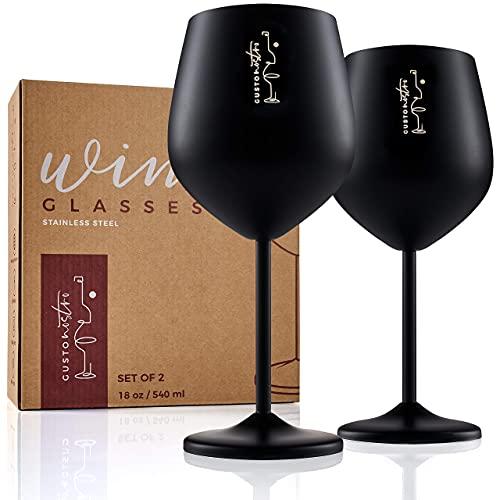 Copas de vino de acero inoxidable con tallo - Copas irrompibles de 18 onzas para fiestas en la piscina al aire libre, aniversarios y brindis de bodas - Elegante vajilla negra mate...