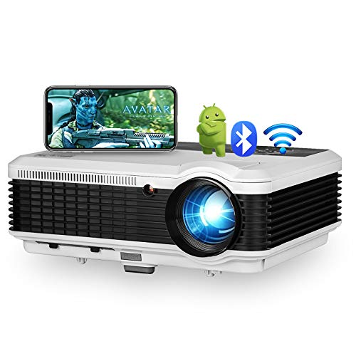 4600 Lumen Android Bluetooth LCD Video Projector-Multimedia HDMI USB RCA Audio VGA AV Support Full HD 1080P Wireless WiFi Home Theater Projectors Outdoor Indoor Holiday Entertainment Game Movies Art