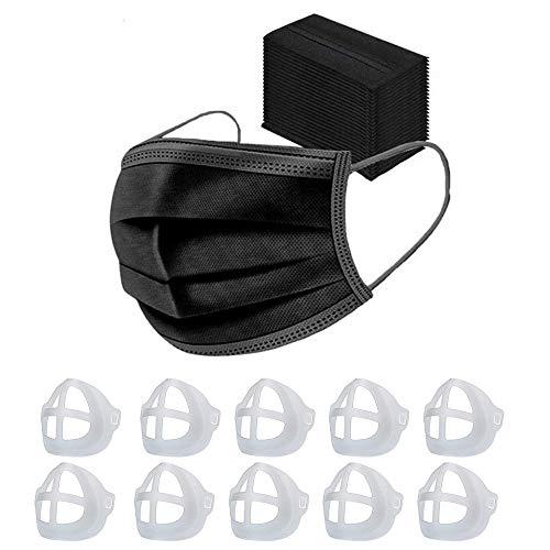50Stück Mundschutz Face Shield Schutzmaske Staubschutzmaske Wiederverwendbar Atmungsaktiv Mundschutz Winddicht Halstuch - Mit 10 3D-Silikon-Halterung für Masken