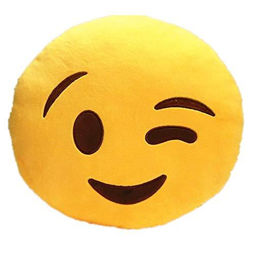 KayMayn Emojis Lachen Emoticon Kissen Polster Yellow Round Kissen-Kissen-Plüsch Spielzeug-Puppe Dekokissen Stuhlkissen Sitzkissen Rund 32 * 32 cm