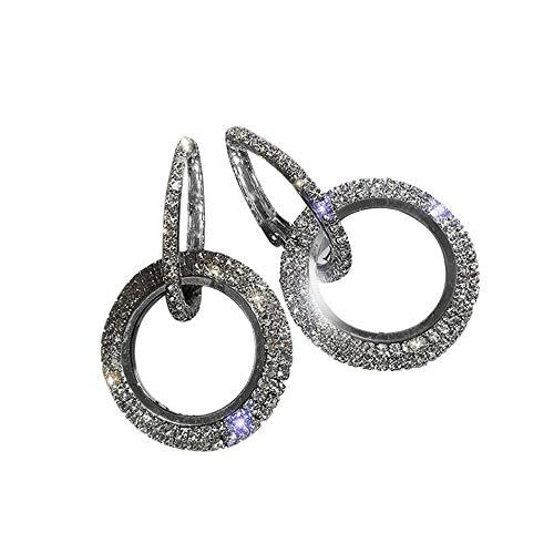 Pendientes De Diamantes Redondos (Negro)