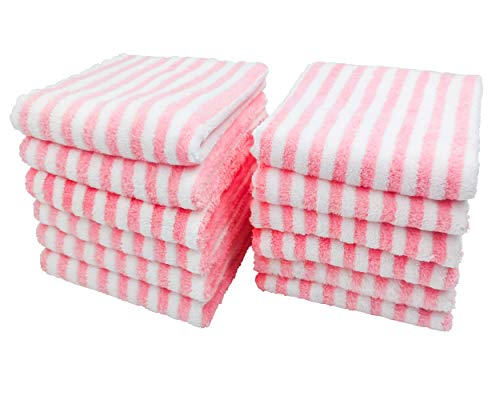 """Kyapoo 12-Pack 12"""" x 12"""" Coral Velvet Cleaning Cloth, Soft, Ultra-Absorbent, Scratch-Free, Reusable Cleaning Products - Suitable for Kitchen Towels, Dishwashing Cloths, Dusting Cloths-Pink"""