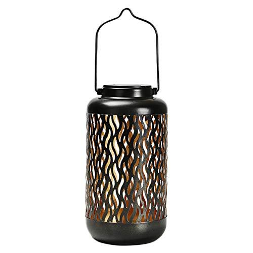 Mobestech Tuin Lantaarn Verlichting Zonne-Buiten Hanglampen Metaal Uitgehold Patroon Verlichting Lamp Voor Patio Tuin Tafeldecoratie 2 Stuks Willekeurige Stijl