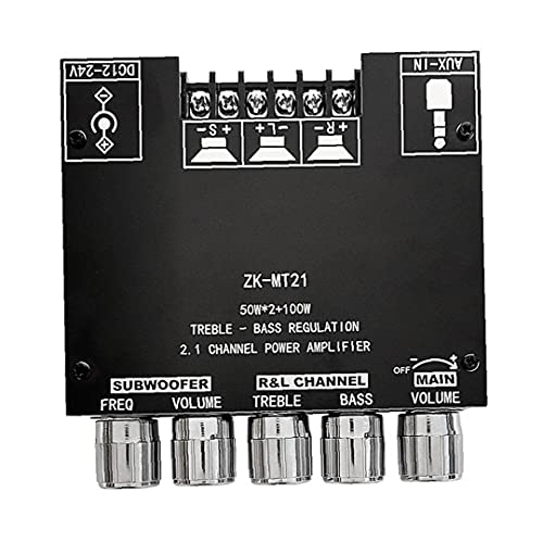 Yililay Audio Amplificador MÓDULO 2.1 Canal AUX inalámbrico aux 12V-24V 2x50W 100W Toolt Stereo ZK-MT21
