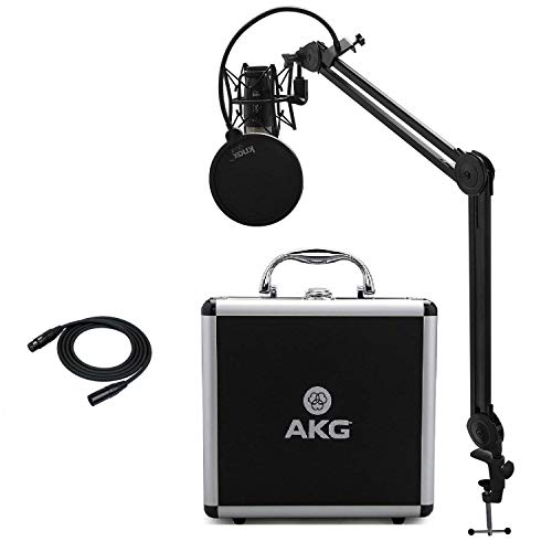 AKG P420 Condenser Microphone with Knox Studio Stand, Pop Filter and XLR Cable Bundle