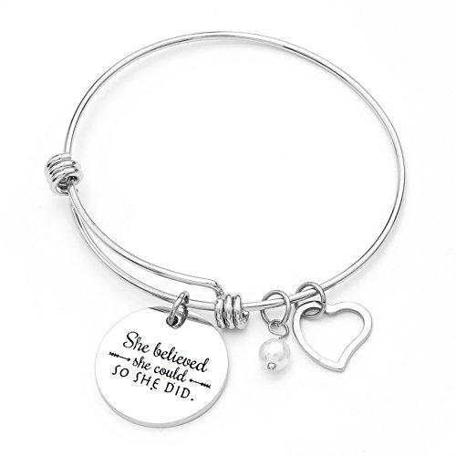 Stainless Steel She Believed She Could So She Did Bracelet Gift for Women Girl Inspirational Bracelet