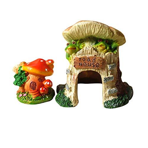 OMEM Decor voor Reptiel Habitat Landscaping Box Shelter Terrarium Hideout Grotten Kleine Dier schattig huis Bevochtigen Verbergen, Castle and mushroom