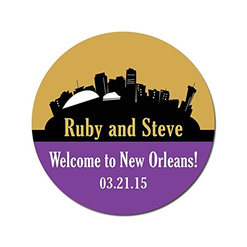Personalized Customized Wedding Favor Stickers - New Orleans Louisiana Skyline - Choose Your Size