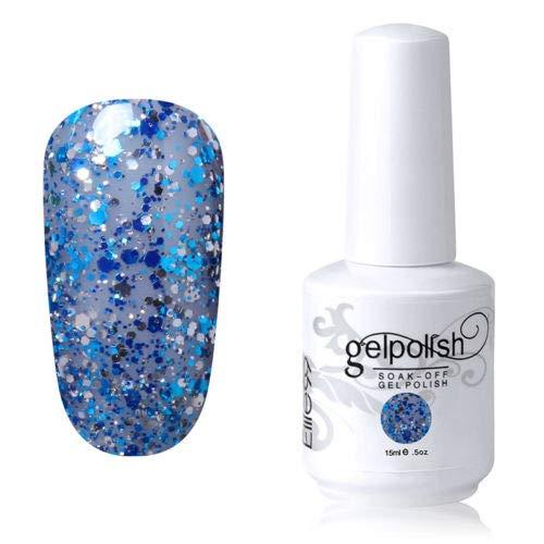 Vernis à ongles gel de couleur 15 ml - Vernis à fond de teint - Vernis à ongles - Nail Art DIY (1486-Center Blue avec paillettes bleues)