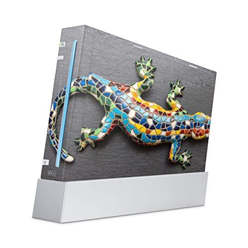 Skins4u Aufkleber Design Schutzfolie Vinyl Skin kompatibel mit Nintendo Wii Konsole Mosaic Gecko
