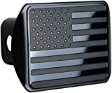 bparts American Black Flag Trailer Metal Hitch Cover Fits 2' Receivers (Black)