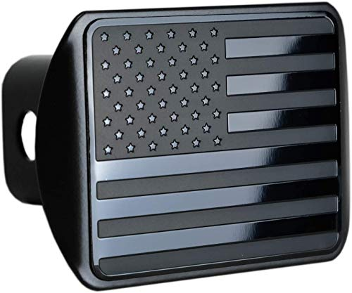 """bparts American Black Flag Trailer Metal Hitch Cover Fits 2"""" Receivers (Black)"""
