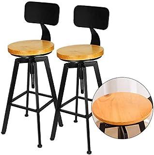 Lot de 2 tabourets de bar Kaibrite - Style industriel rétro noir - En bois et métal - Hauteur réglable de 64 à 84 cm - Pou...