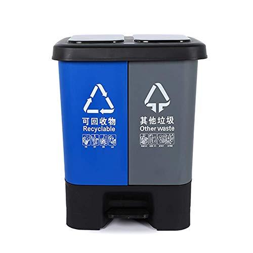 GHDE& Tret-Mülleimer für Wohnzimmer, Küche und Büro mit 2 Fächern - Kunststoff - 20L/40L,D,40L