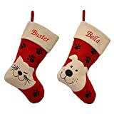Luxury Deluxe Personalised Embroidered Christmas Stocking Pet, Cat & Dog (Cat)