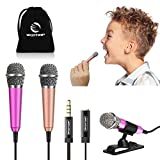 [2PCS] Mini Microphone, Wootrip Mini Karaoke Vocal and Recording Microphone portable for iphone ipad laptop android-Tiny microphone ideal for Kids holidays gift (Rose Red and Gold)