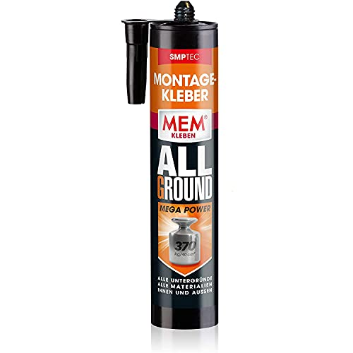 MEM Montage-Kleber Allground Mega Power, Wasser- und UV- beständig, Hohe Anfangshaftung und megastarke Endfestigkeit, Für fast alle Untergründe, Lösemittelfrei, 450 g Kartusche, Weiß